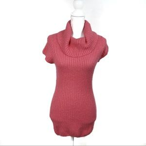 T651 Bubblegum Pink Long Cowl Neck Sweater Size L